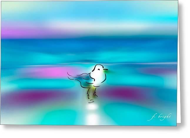 Ocean Shore Mixed Media Greeting Cards - Standing Seagull Greeting Card by Frank Bright