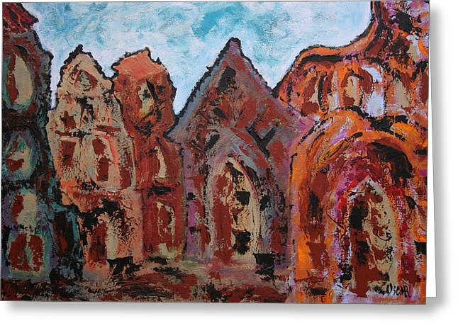 Prague Paintings Greeting Cards - Standing Still Greeting Card by Oscar Penalber