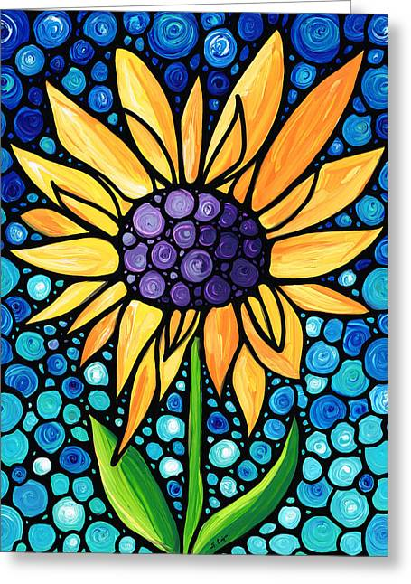 Stained Glass Greeting Cards - Standing Tall - Sunflower Art By Sharon Cummings Greeting Card by Sharon Cummings
