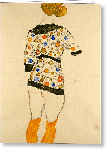 Schiele Drawings Greeting Cards - Standing Woman in a Patterned Blouse Greeting Card by Egon Schiele