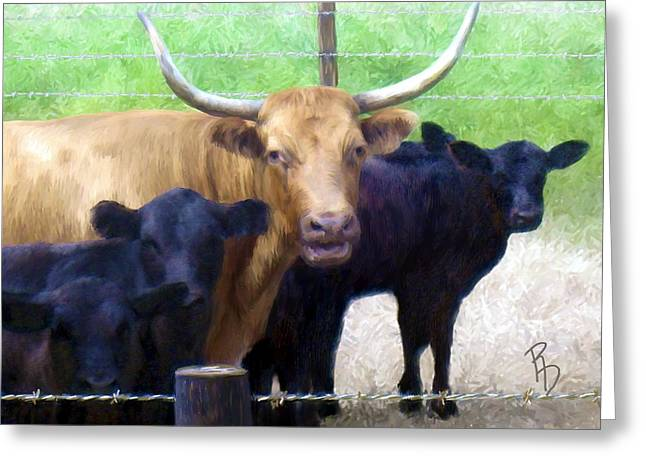 Angus Steer Digital Art Greeting Cards - Standout Steer Greeting Card by Ric Darrell
