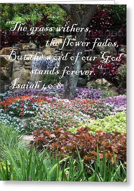 Book Of Isaiah Greeting Cards - Stands Forever Greeting Card by Pharris Art