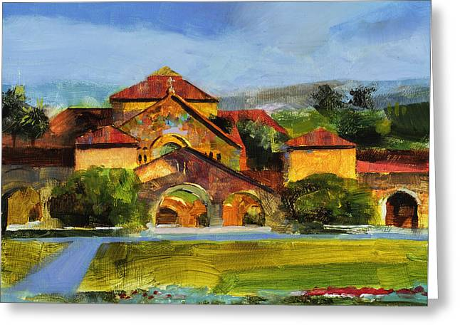 Duke Paintings Greeting Cards - Stanford Chapel Greeting Card by Stan Fellows