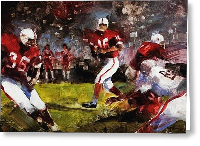 Footballs Greeting Cards - Stanford/Ohio St. Greeting Card by Stan Fellows