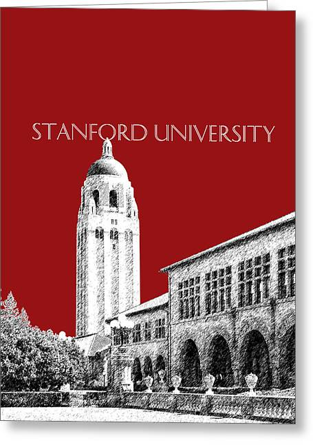Dark Red Greeting Cards - Stanford University - Dark Red Greeting Card by DB Artist