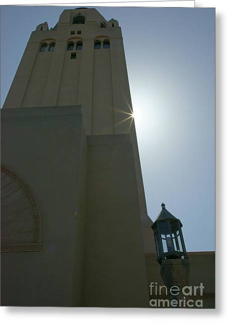 Burst Greeting Cards - Stanford University Palo Alto California Hoover Tower Sunburst in Silhouette DSC659 Greeting Card by Wingsdomain Art and Photography