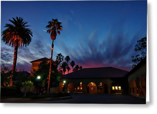 Alto Greeting Cards - Stanford University Quad Sunset Greeting Card by Scott McGuire