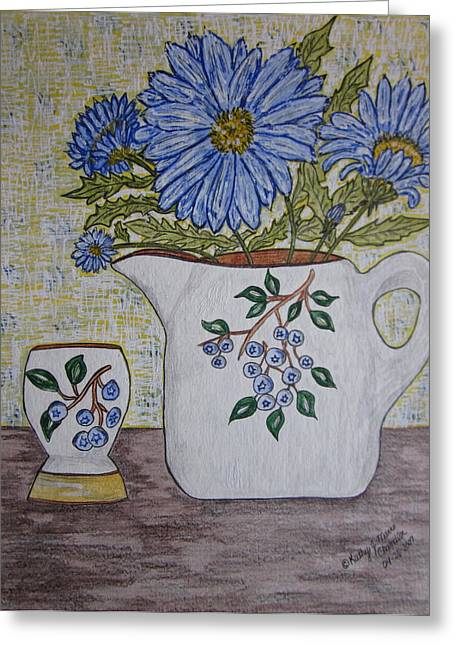 Pottery Pitcher Paintings Greeting Cards - Stangl Blueberry Pottery Greeting Card by Kathy Marrs Chandler