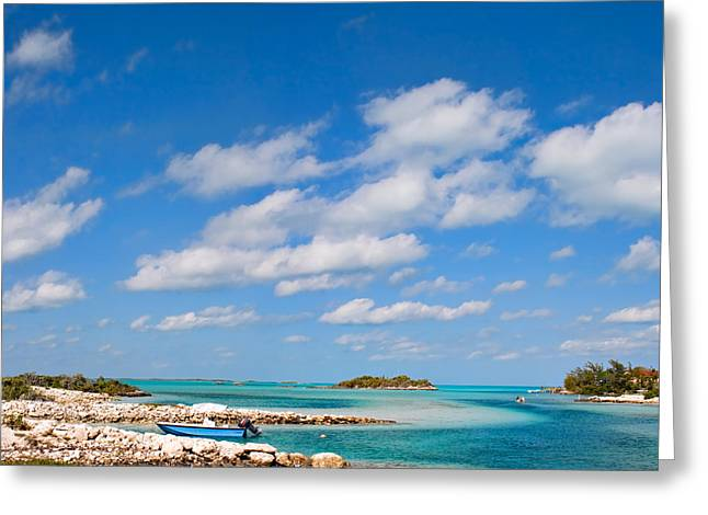 Panoramic Ocean Greeting Cards - Staniel Cay in Exuma Bahamas Greeting Card by Shane Pinder