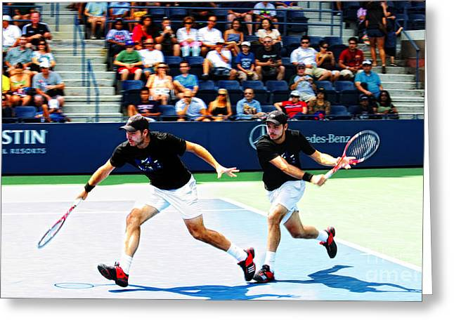 Slam Photographs Greeting Cards - Stanislas Wawrinka in Action Greeting Card by Nishanth Gopinathan