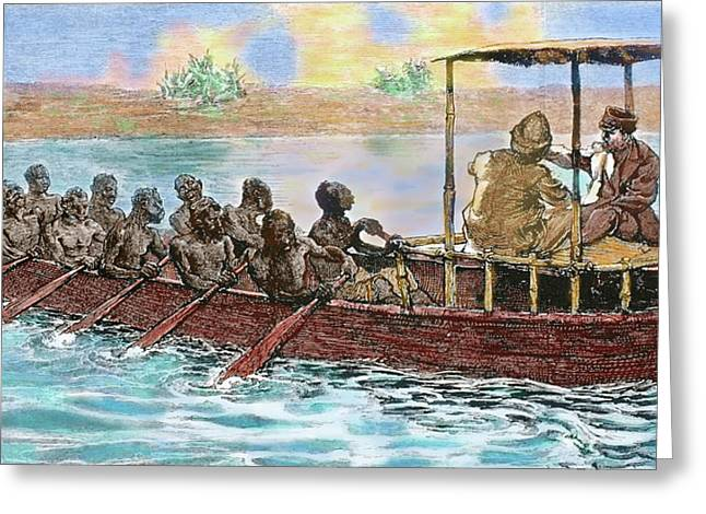 Stanley And Livingstone In A Canoe Greeting Card by Prisma Archivo
