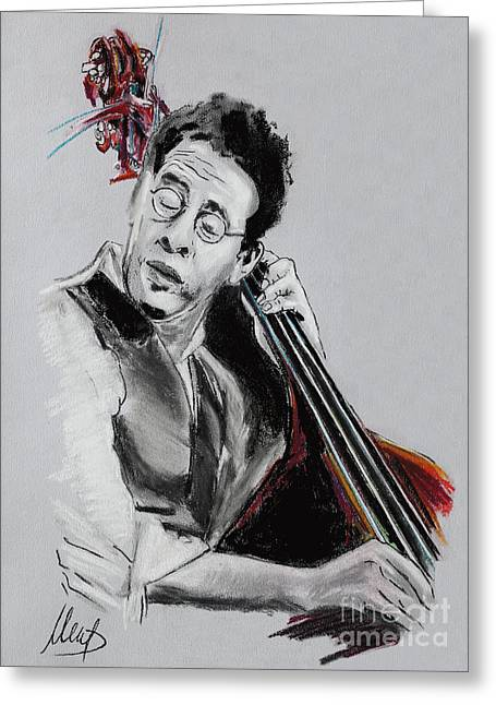Bass Player Greeting Cards - Stanley Clarke Greeting Card by Melanie D