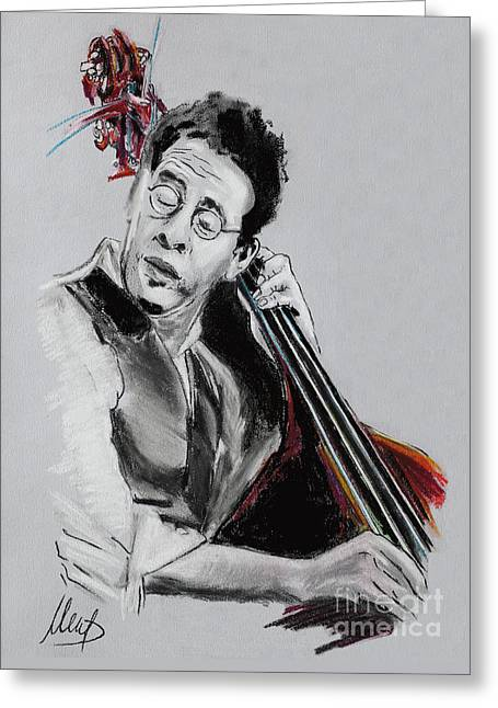 Double Bass Greeting Cards - Stanley Clarke Greeting Card by Melanie D