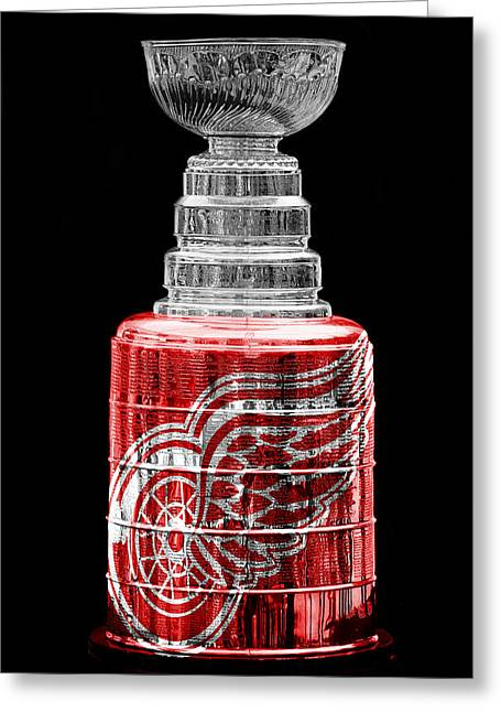 Red Wings Greeting Cards - Stanley Cup 5 Greeting Card by Andrew Fare
