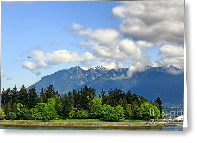 West Vancouver Greeting Cards - Stanley Park and Lions Mountain Greeting Card by Charline Xia