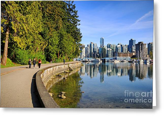 Stanley Park Greeting Cards - Stanley Park Seawall Path Greeting Card by Charline Xia