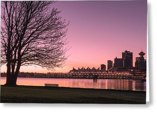 Convention Greeting Cards - Stanley Park to Vancouver Sunrise Greeting Card by Paul W Sharpe Aka Wizard of Wonders