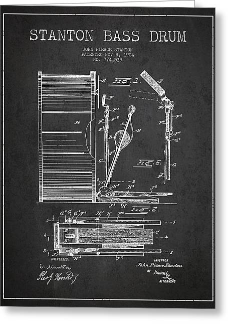 Rhythm Greeting Cards - Stanton Bass Drum Patent Drawing from 1904 - Dark Greeting Card by Aged Pixel