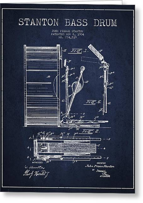 Drum Art Greeting Cards - Stanton Bass Drum Patent Drawing from 1904 - Navy Blue Greeting Card by Aged Pixel
