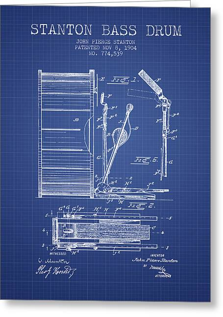 Drummers Digital Art Greeting Cards - Stanton Bass Drum Patent from 1904 - Blueprint Greeting Card by Aged Pixel