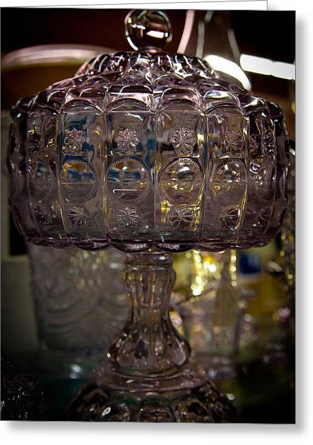 Glass Bowls Greeting Cards - Star and Moon Glass Compote Greeting Card by David Patterson