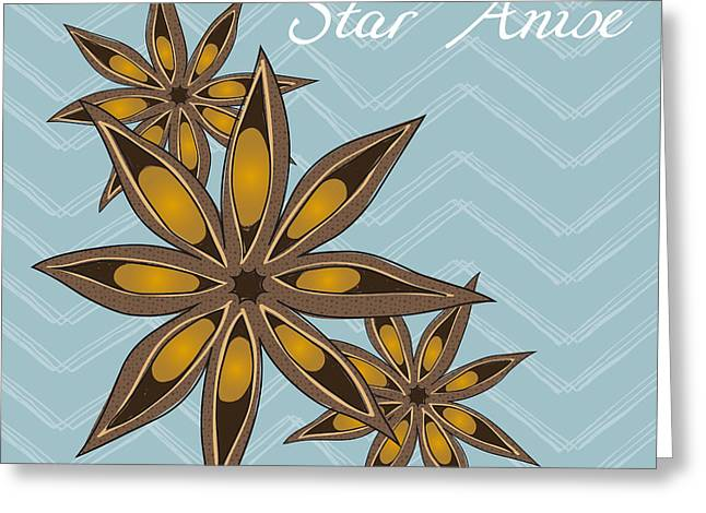 Garden Art Greeting Cards - Star Anise Art Greeting Card by Christy Beckwith