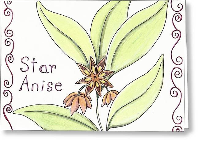 Garden Art Greeting Cards - Star Anise Greeting Card by Christy Beckwith