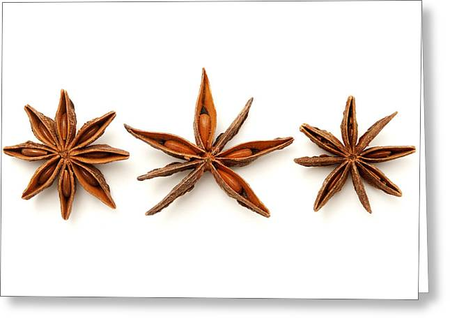 White Background Greeting Cards - Star anise fruits Greeting Card by Fabrizio Troiani