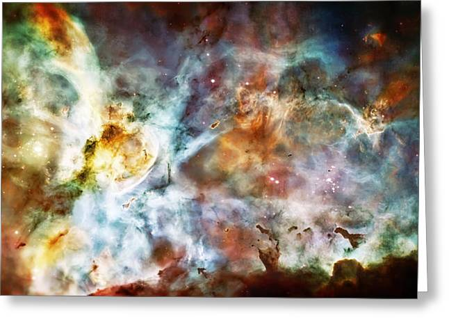 The Cosmos Greeting Cards - Star Birth in the Carina Nebula  Greeting Card by The  Vault - Jennifer Rondinelli Reilly