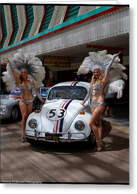 The Love Bug Greeting Cards - Star Cars and Show Girls 1 Greeting Card by Tommy Anderson