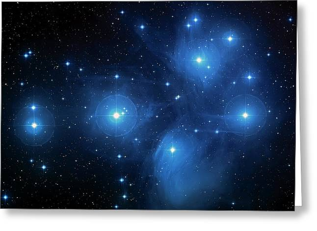 Constellations Greeting Cards - Star Cluster Pleiades Seven Sisters Greeting Card by The  Vault - Jennifer Rondinelli Reilly