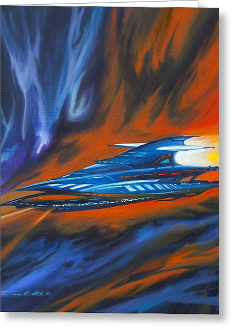 Stellar Paintings Greeting Cards - Star Cruiser Greeting Card by James Christopher Hill