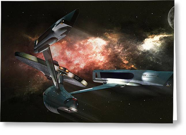 Enterprise Greeting Cards - Star Date 6625.331 Greeting Card by Peter Chilelli