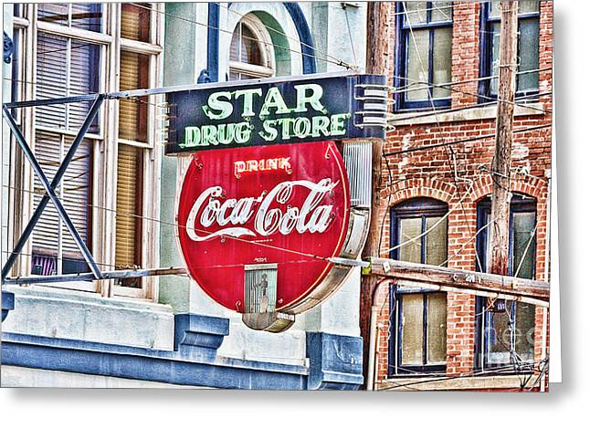 Star Drug Store Greeting Cards - Star Drug Store - HDR Neon Sign Greeting Card by Scott Pellegrin