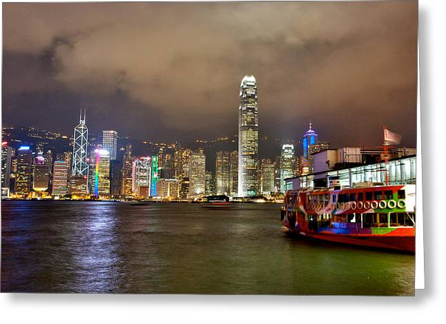 Kowloon Greeting Cards - Star Ferry in Night View in Victoria bay Greeting Card by Hisao Mogi