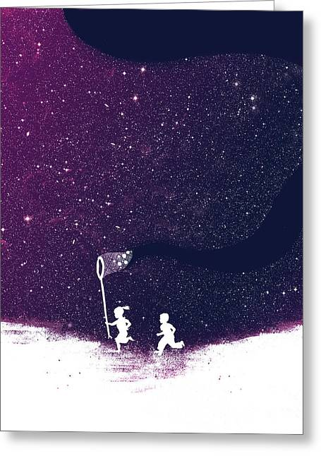 Star Digital Art Greeting Cards - Star field purple Greeting Card by Budi Satria Kwan