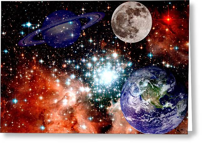 Nebula Greeting Cards - Star field with planets Greeting Card by J D Owen