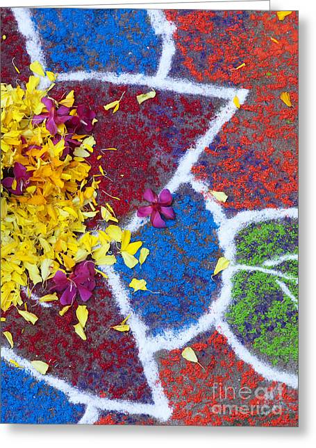 Indian Art Greeting Cards - Star flower Rangoli design  Greeting Card by Tim Gainey