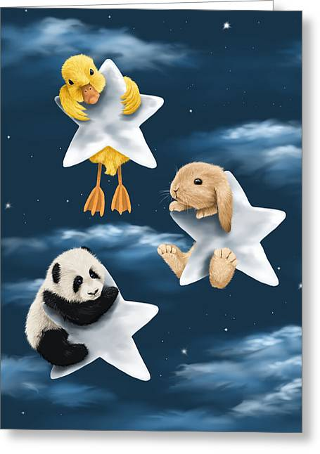 Kid Paintings Greeting Cards - Star games Greeting Card by Veronica Minozzi