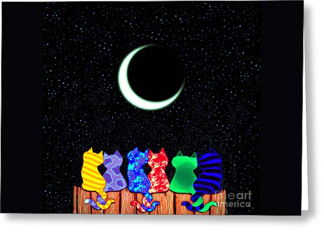Feline Fantasy Greeting Cards - Star Gazers Greeting Card by Nick Gustafson