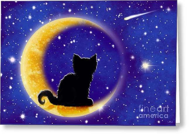 Star Gazing Greeting Cards - Star Gazing Cat Greeting Card by Nick Gustafson