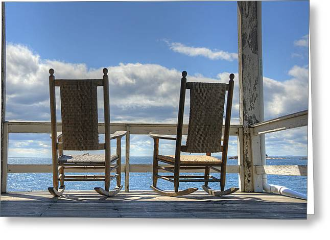 Rocking Chairs Greeting Cards - Star Island Rocking Chairs Greeting Card by Donna Doherty