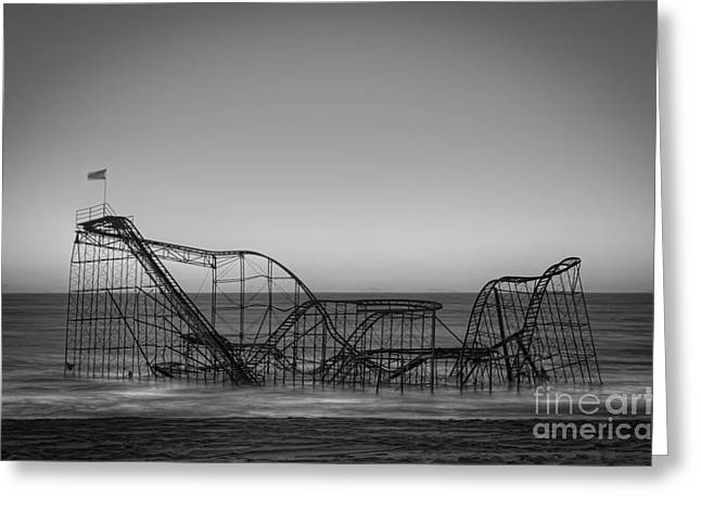Jet Star Greeting Cards - Star Jet Roller Coaster BW Greeting Card by Michael Ver Sprill