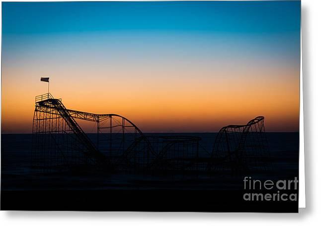 Jet Star Roller Coaster Greeting Cards - Star Jet Roller Coaster Silhouette  Greeting Card by Michael Ver Sprill
