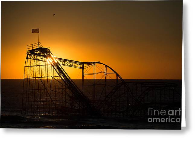 Jet Star Roller Coaster Greeting Cards - Star Jet Silhouette Greeting Card by Michael Ver Sprill