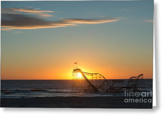 Jet Star Roller Coaster Greeting Cards - Star Jet Sunrise Silhouettte Greeting Card by Michael Ver Sprill