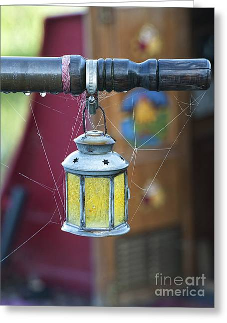 Morning Dew Greeting Cards - Star Lantern on Narrowboat Tiller Greeting Card by Tim Gainey