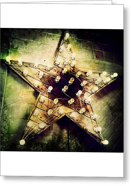 Times Square Digital Art Greeting Cards - Star Light Grunge Greeting Card by Natasha Marco
