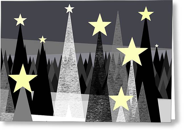Snowy Night Greeting Cards - Star Light - Star Bright Greeting Card by Val Arie