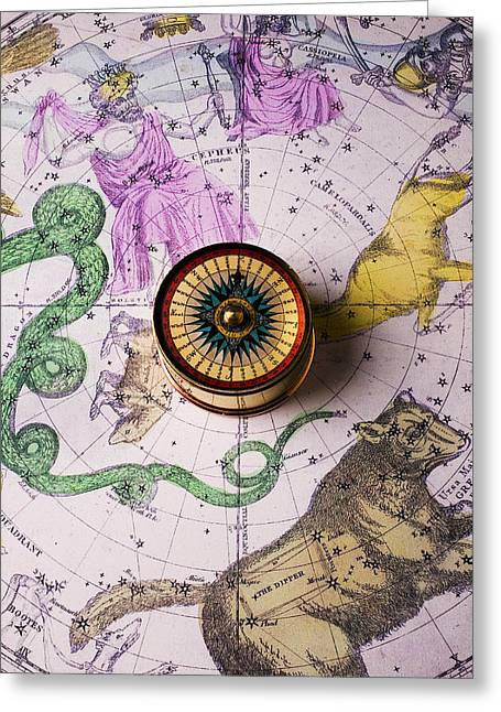Longitude Greeting Cards - Star map Greeting Card by Garry Gay